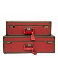Louis Vuitton Pair of Vintage Red Textured Calfskin Leather Suitcases, 1970s