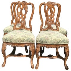 1970s Louis XV Rococo Style Dinning Chairs, Set of 4