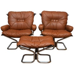 1970s Lounge Set Cognac Leather and Steel by Harald Relling for Westnofa, Norway
