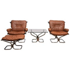1970s, Lounge Set Wing in Leather / Steel by Harald Relling for Westnofa Norway