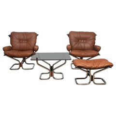 1970s, Lounge Set Wing in Leather or Steel by Harald Relling for Westnofa Norway