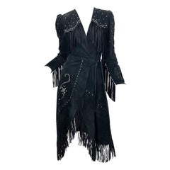 1970s Love, Melody Sabatasso Black Suede Fringe Rhinestone Studded Wrap Dress