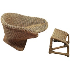 1970s Low Wicker Armchair with Footstool, Italy