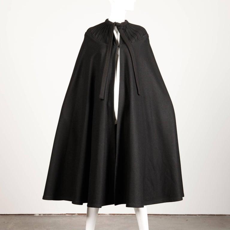 1970s Luba Rudenko Vintage Heavy Black Wool Cape Coat For Sale 1