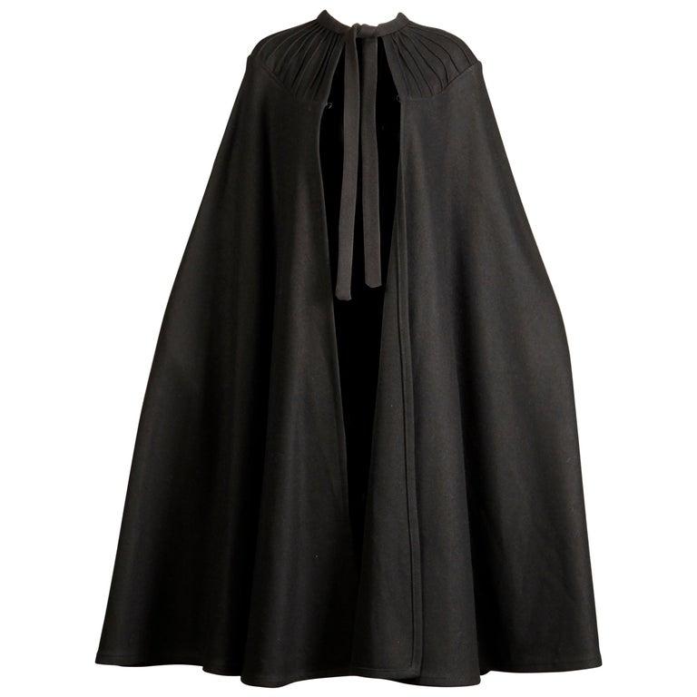1970s Luba Rudenko Vintage Heavy Black Wool Cape Coat For Sale