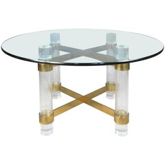 1970s Lucite and brass dining table by Charles Hollis Jones.