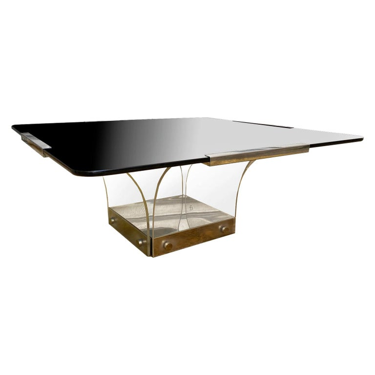 1970s Lucite and Glass Square Coffee Table For Sale
