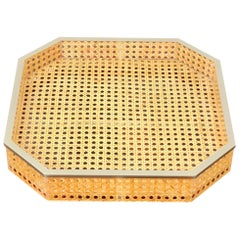 1970s Lucite and Wicker Serving Tray Centerpiece Christian Dior style