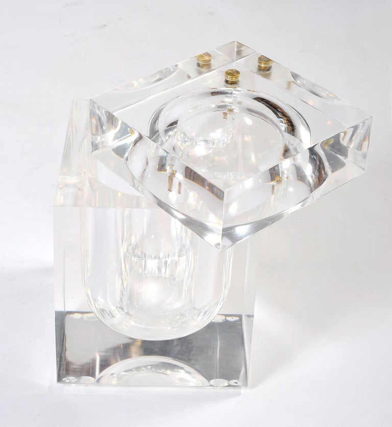 Ice cool chic. Giant ice-cube ice bucket. A 1970s Classic by the Italian designer Albrizzi. Cubes rest in sculpted oval bowl. Thick smooth square lid swivels open from simple brass clasp.