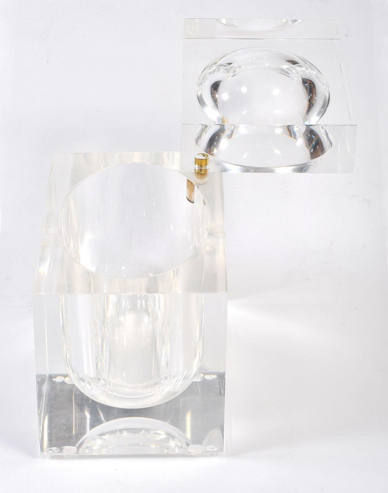 Cast 1970s Lucite Ice Bucket by Alessandro Albrizzi