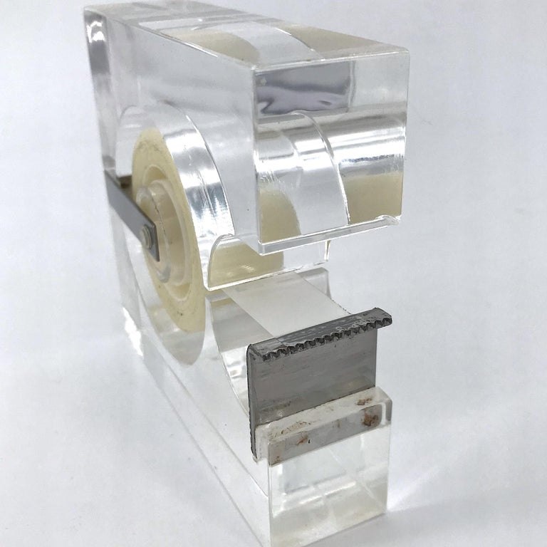 Late 20th Century 1970s Lucite Tape Dispenser by Two's Company for Serge Mansau Paris MOMA Design For Sale