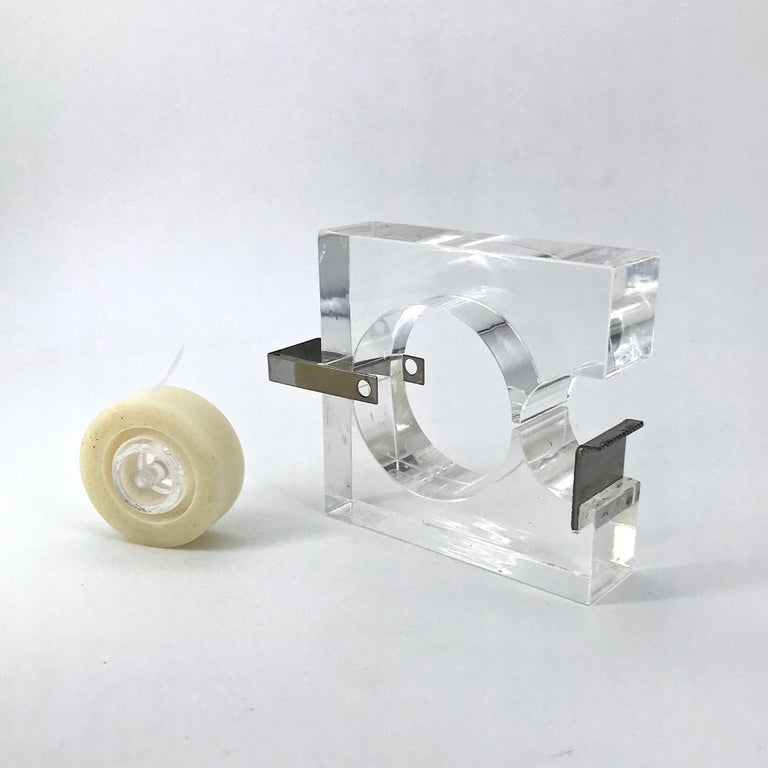 1970s Lucite Tape Dispenser by Two's Company for Serge Mansau Paris MOMA Design For Sale 2
