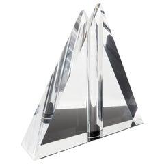 1970s Lucite Triangle Vase by Feliceantonio Botta