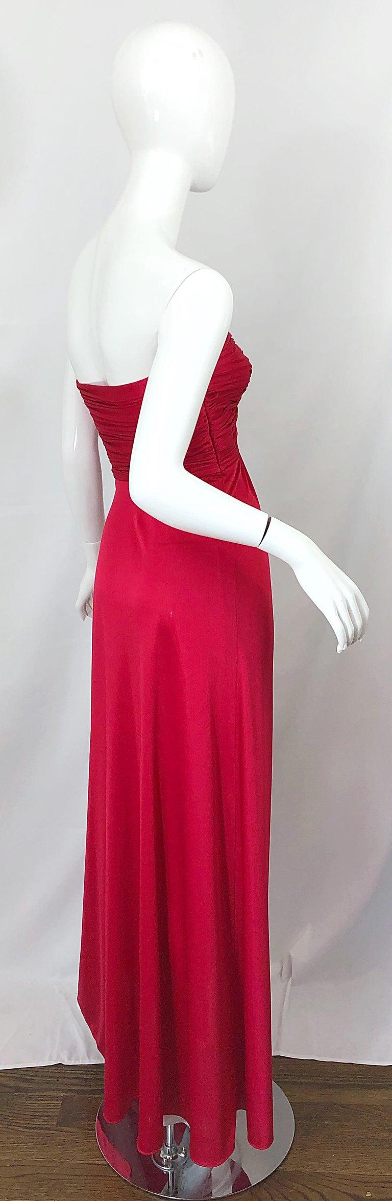 1970s Luis Estevez Silk Jersey Lipstick Red Strapless Vintage 70s Grecian Gown For Sale 6