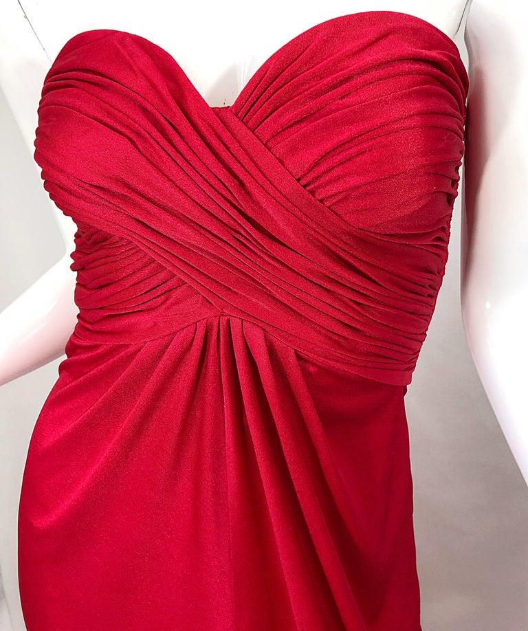 1970s Luis Estevez Silk Jersey Lipstick Red Strapless Vintage 70s Grecian Gown For Sale 7
