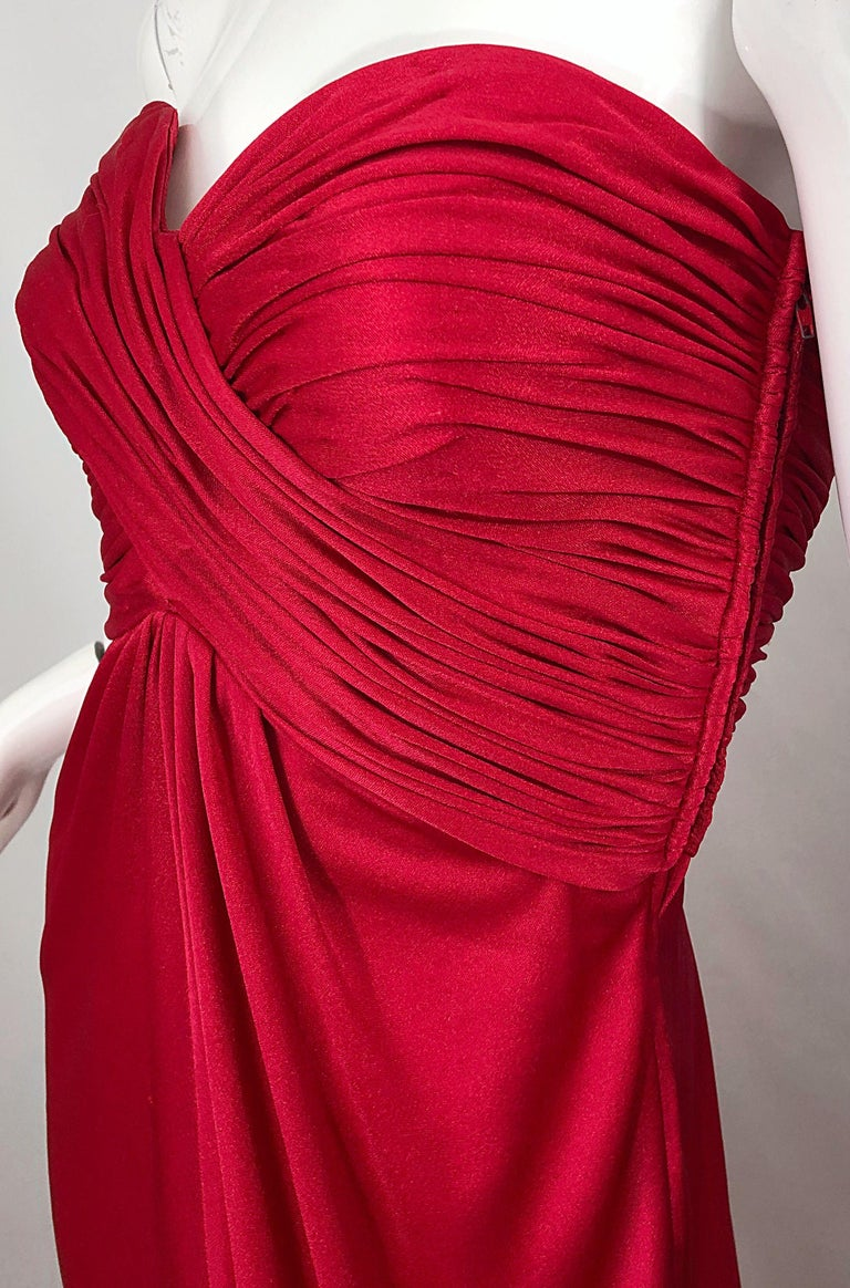 1970s Luis Estevez Silk Jersey Lipstick Red Strapless Vintage 70s Grecian Gown In Excellent Condition For Sale In Chicago, IL