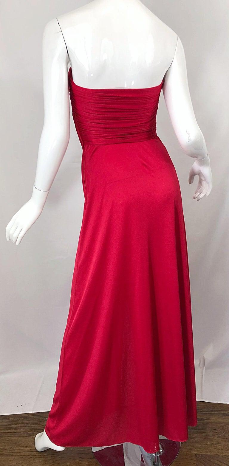 Women's 1970s Luis Estevez Silk Jersey Lipstick Red Strapless Vintage 70s Grecian Gown For Sale