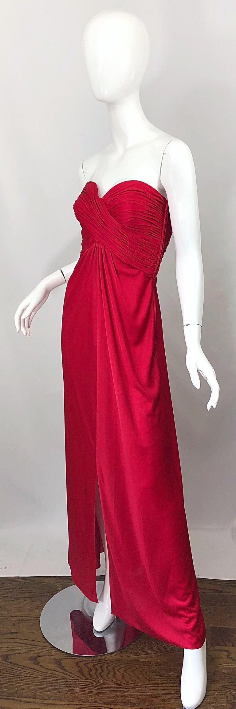 1970s Luis Estevez Silk Jersey Lipstick Red Strapless Vintage 70s Grecian Gown For Sale 1