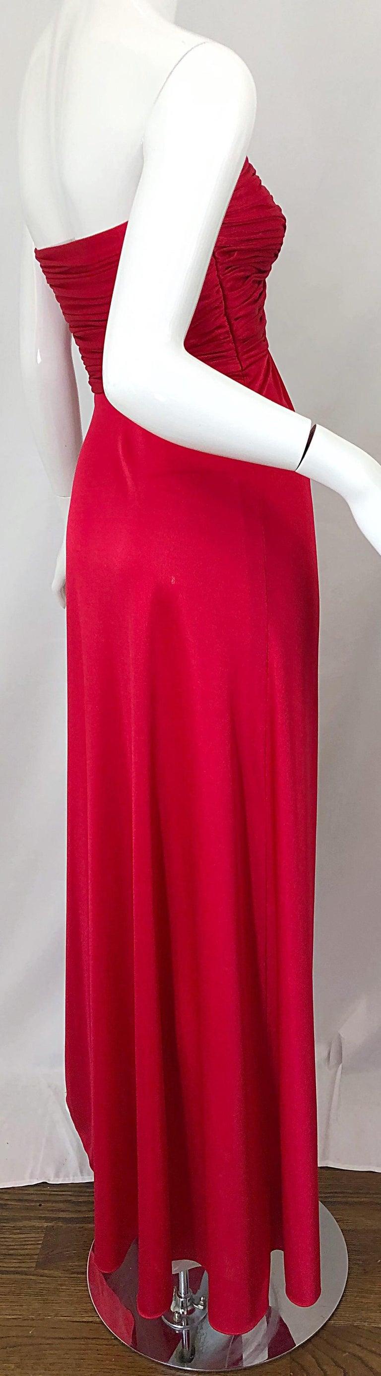 1970s Luis Estevez Silk Jersey Lipstick Red Strapless Vintage 70s Grecian Gown For Sale 2