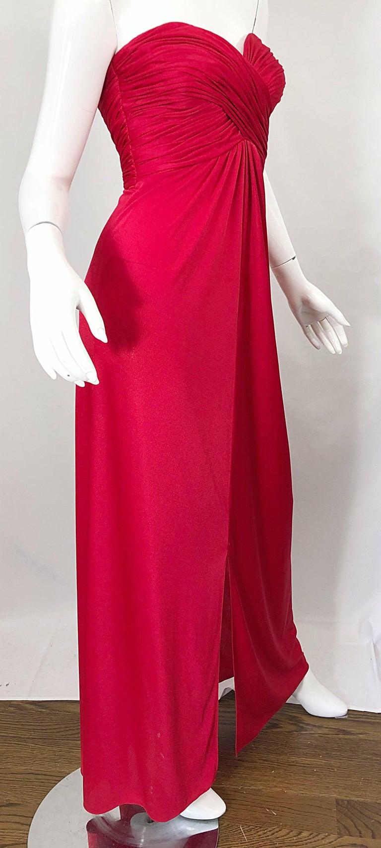 1970s Luis Estevez Silk Jersey Lipstick Red Strapless Vintage 70s Grecian Gown For Sale 3