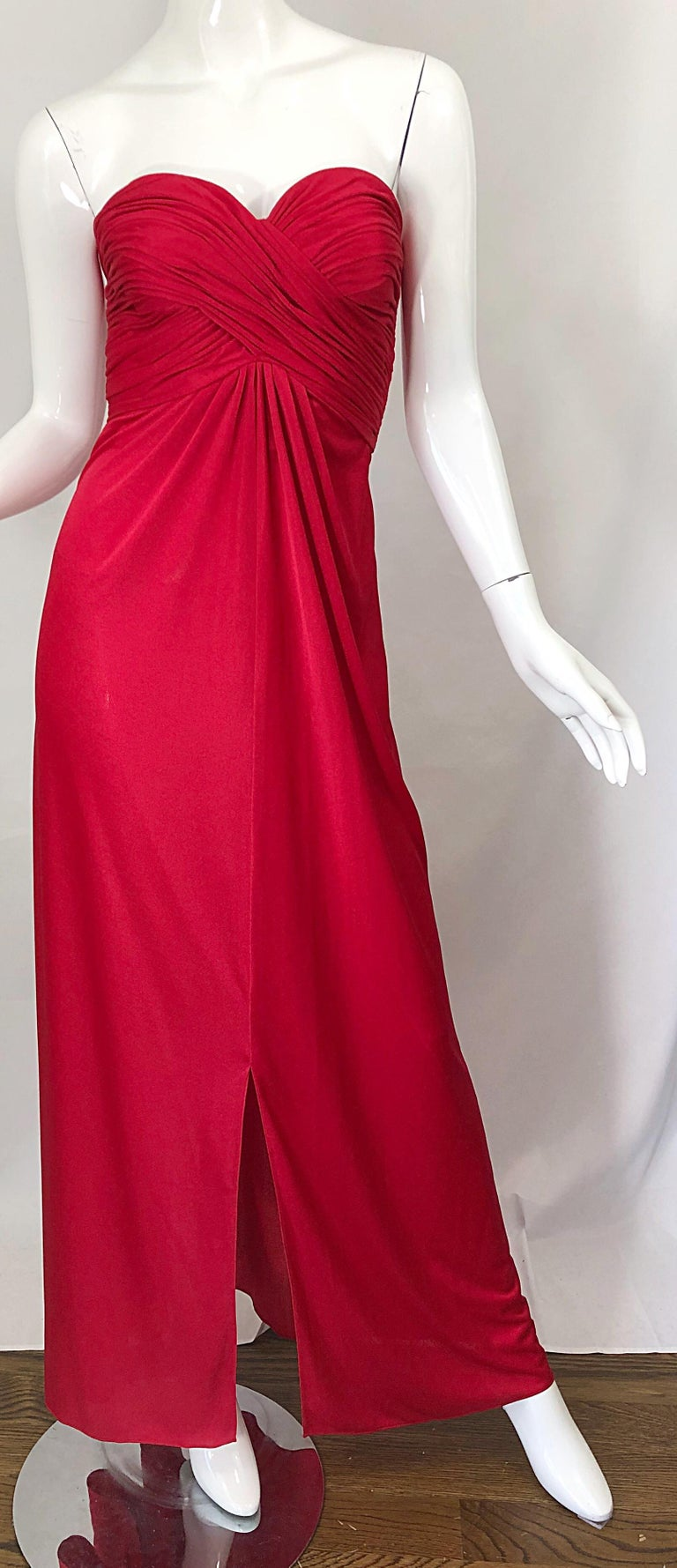 1970s Luis Estevez Silk Jersey Lipstick Red Strapless Vintage 70s Grecian Gown For Sale 4