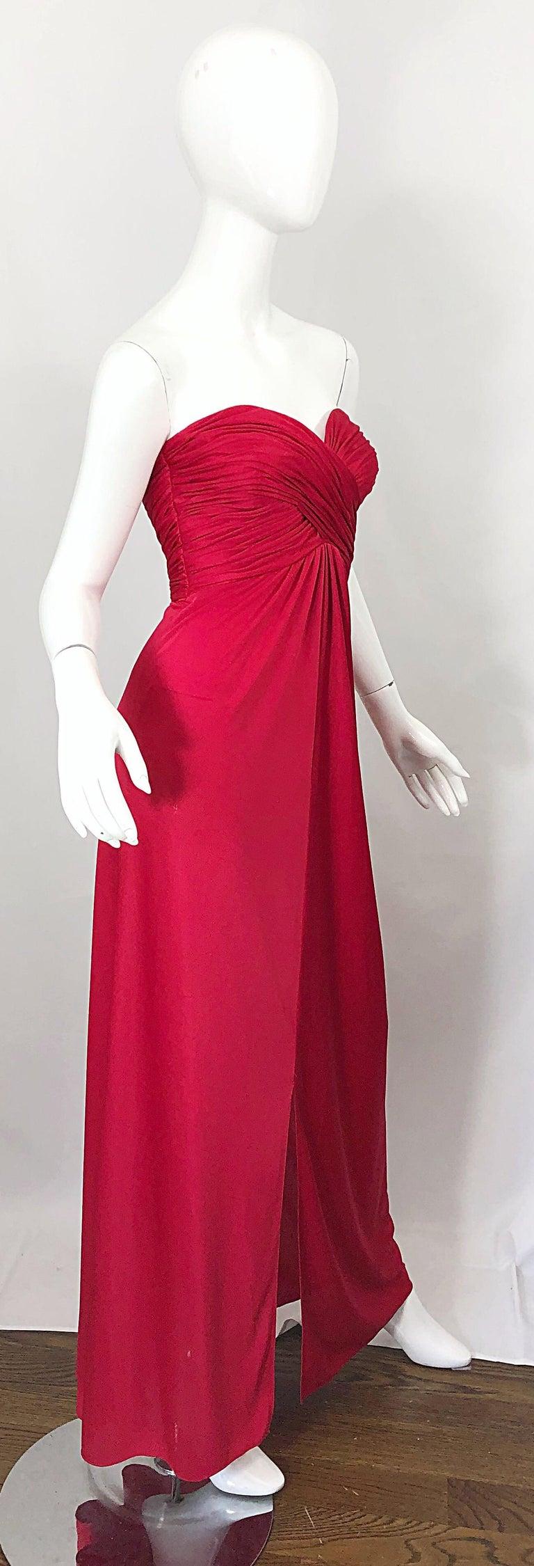 1970s Luis Estevez Silk Jersey Lipstick Red Strapless Vintage 70s Grecian Gown For Sale 5