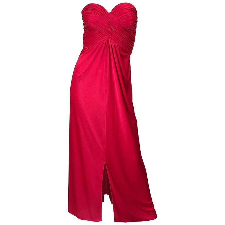 1970s Luis Estevez Silk Jersey Lipstick Red Strapless Vintage 70s Grecian Gown For Sale
