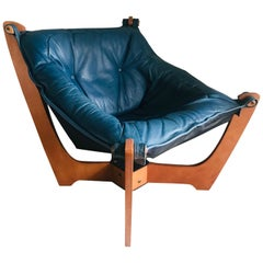 1970s Luna Lounge Chair by Odd Knutsen in Cadet Blue Leather, Norway