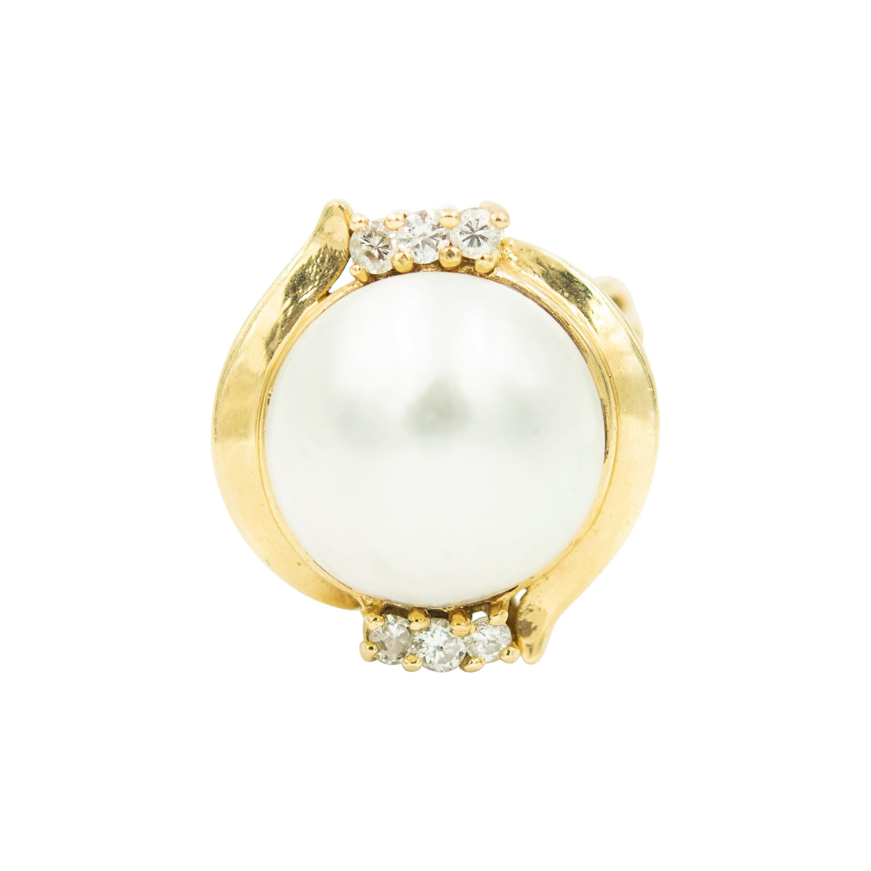 1970s Mabe Pearl and Diamond Yellow Gold Dome Ring