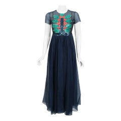 1970's Madame Grès Haute-Couture Beaded Holly Berry Motif Navy Sheer Silk Gown