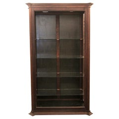 1970s Mahogany Display Case with 4 Glass Shelves, Adjustable