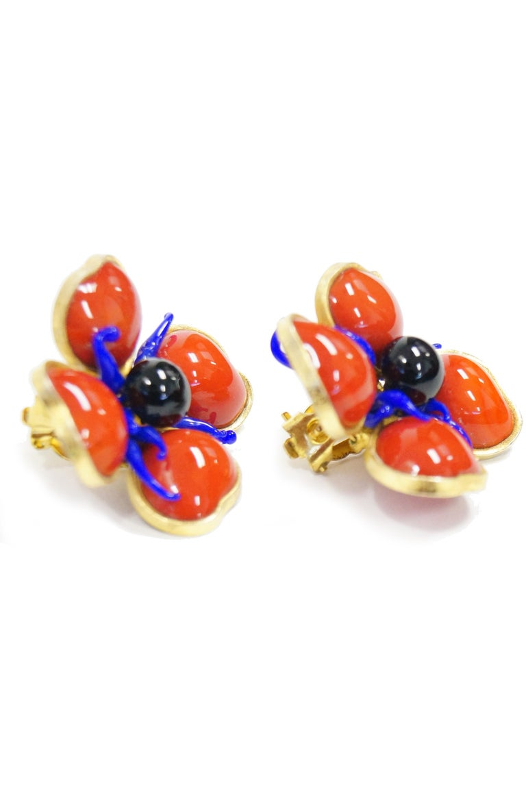 1970s Maison Gripoix for Jean Patou Poppy Red Earrings 2