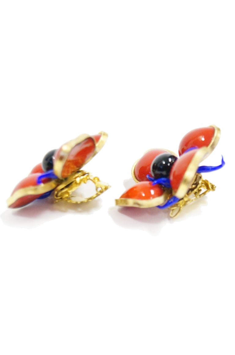 1970s Maison Gripoix for Jean Patou Poppy Red Earrings 3