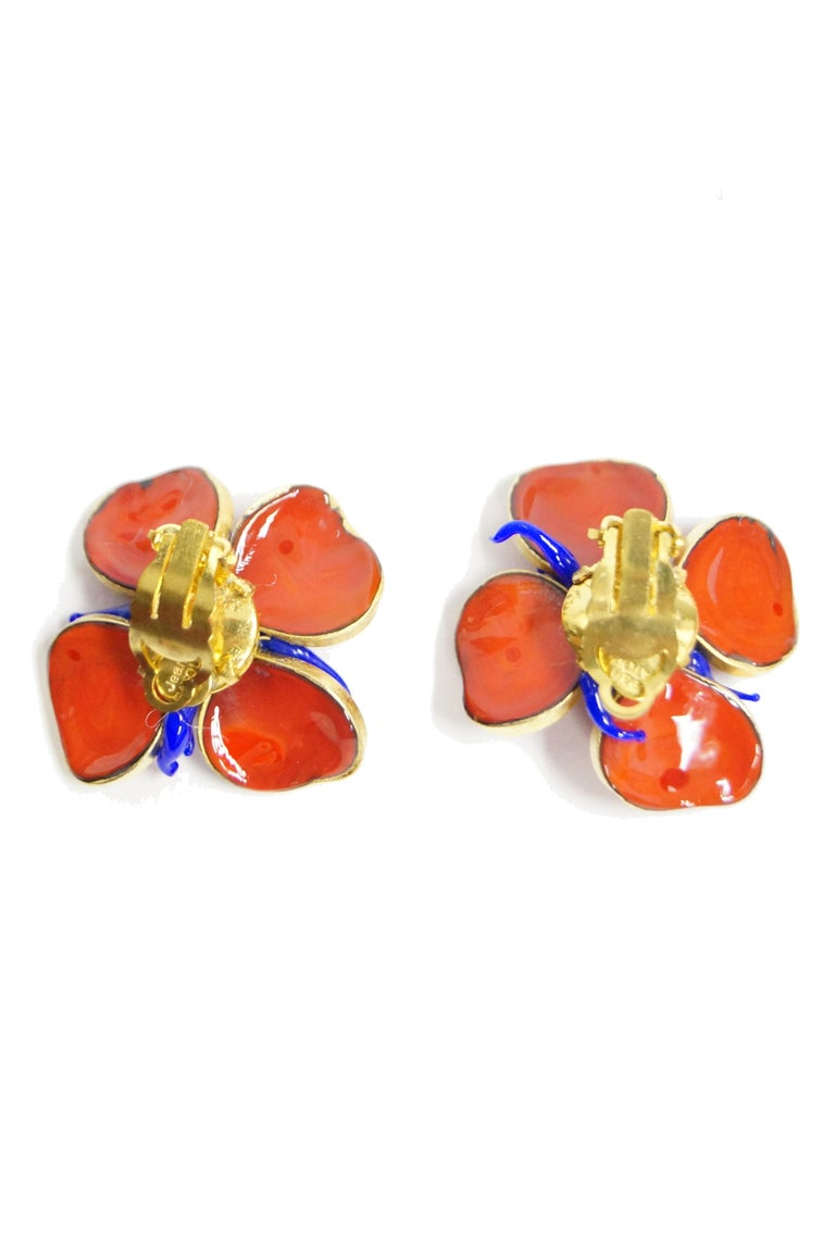 1970s Maison Gripoix for Jean Patou Poppy Red Earrings 4