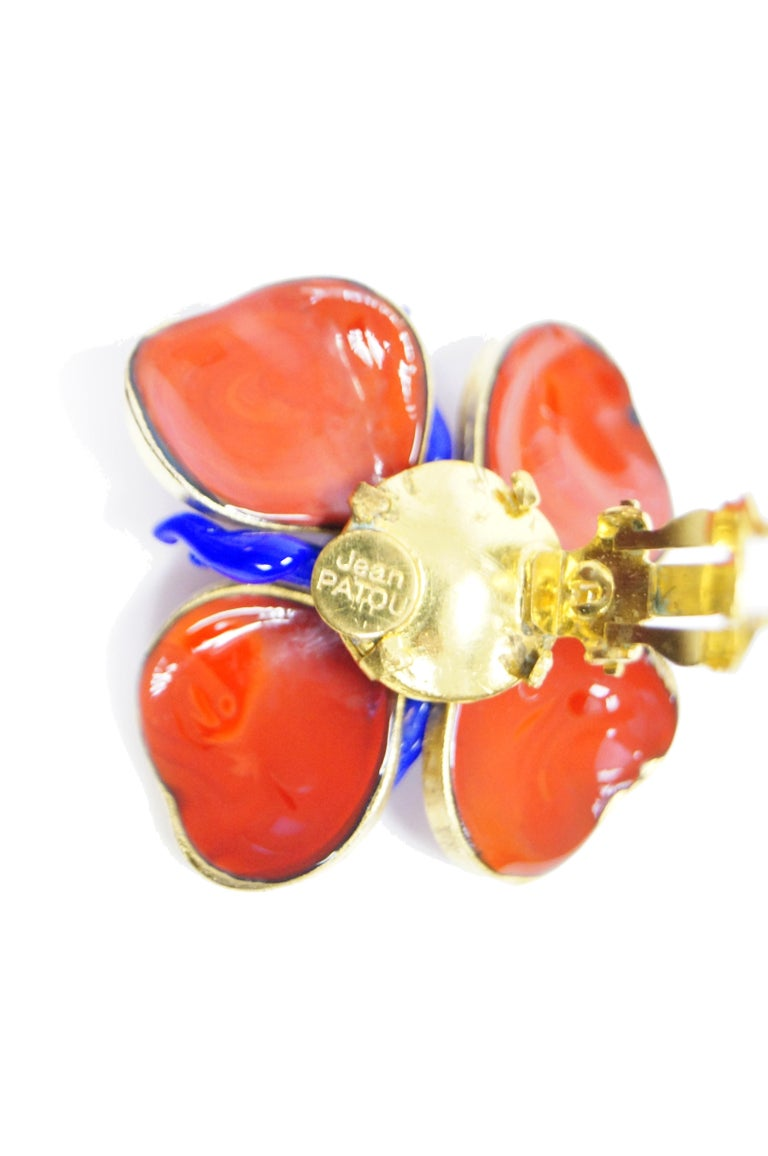 1970s Maison Gripoix for Jean Patou Poppy Red Earrings 5