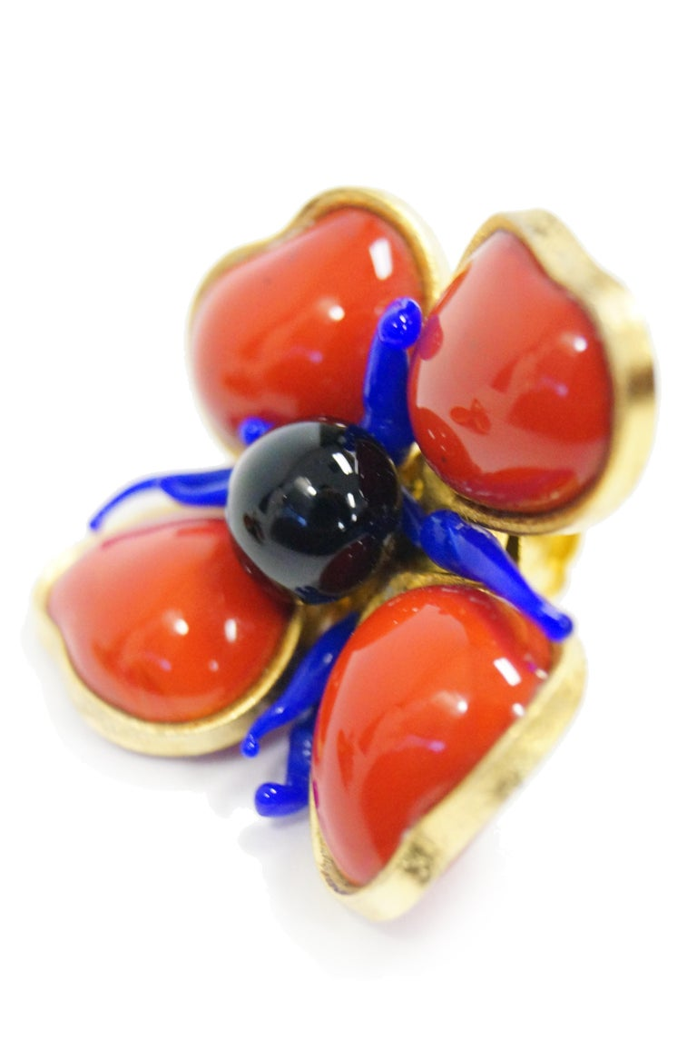1970s Maison Gripoix for Jean Patou Poppy Red Earrings 6