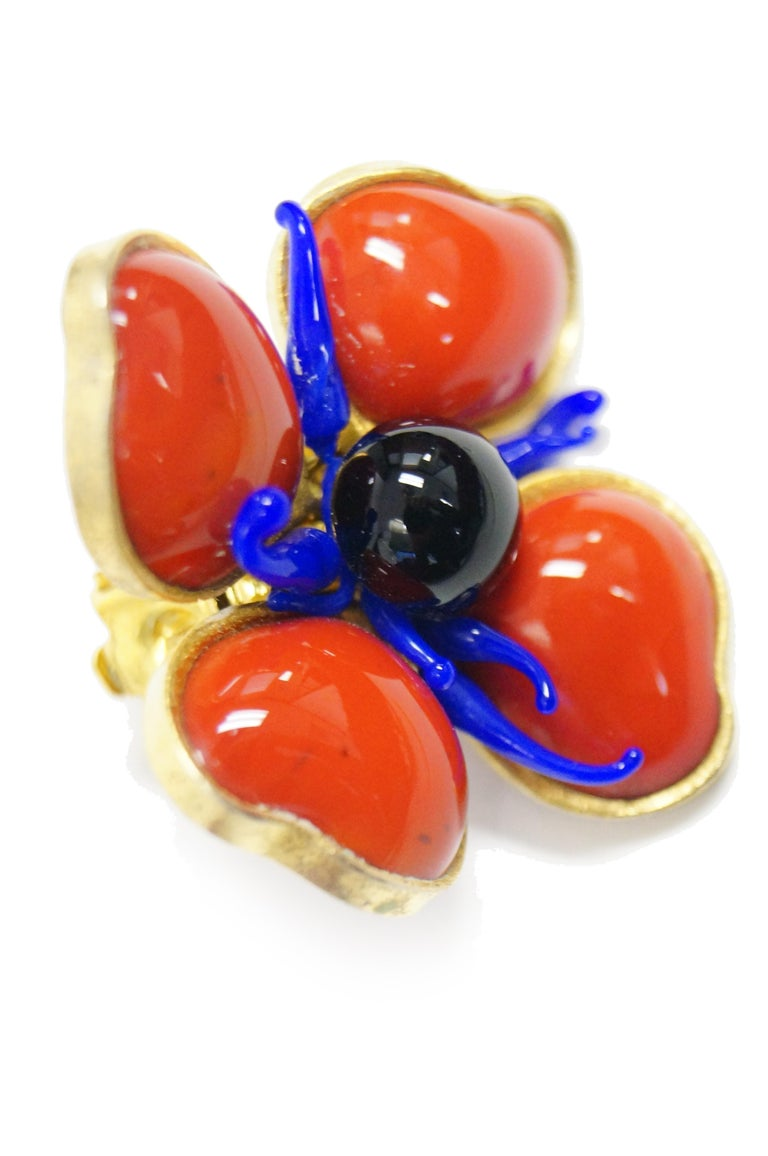 1970s Maison Gripoix for Jean Patou Poppy Red Earrings 7