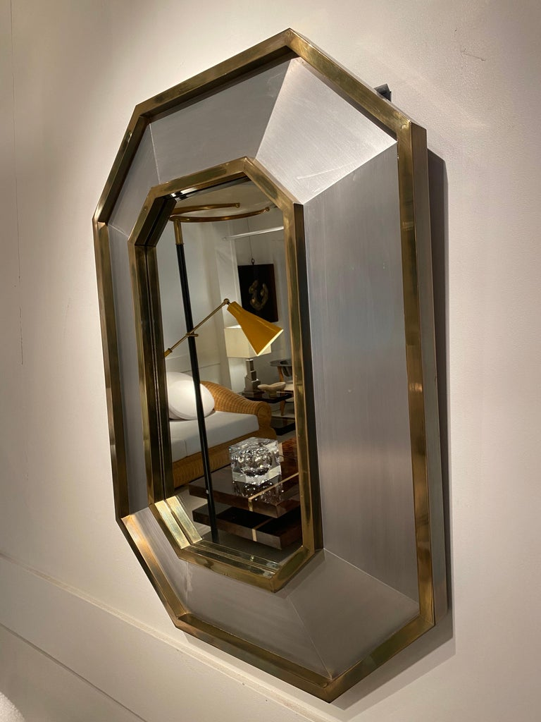 1970s Maison Jansen mirror in brushed steel and brass details