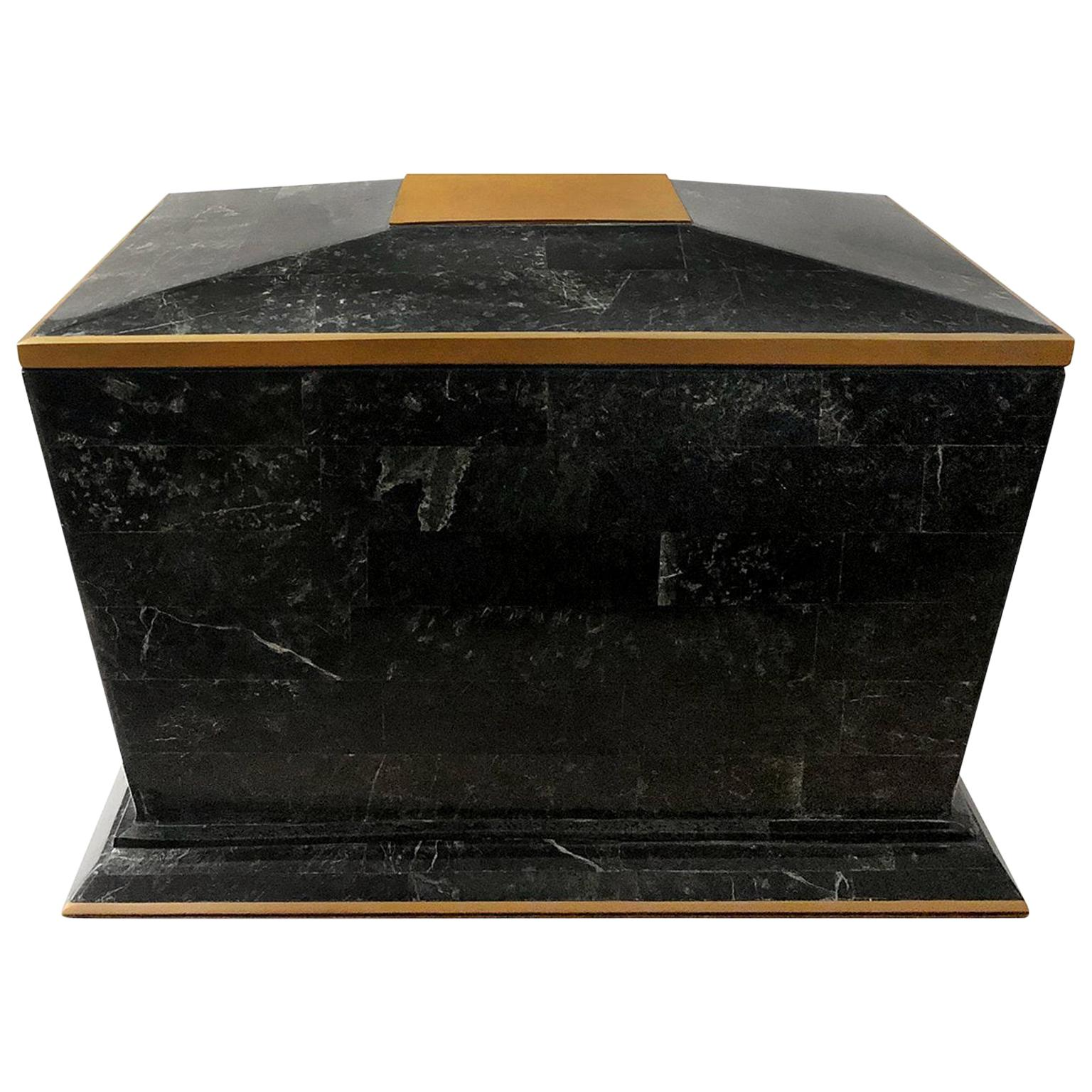 1970s Maitland Smith Black Tessellated Stone Box with Brass Trim