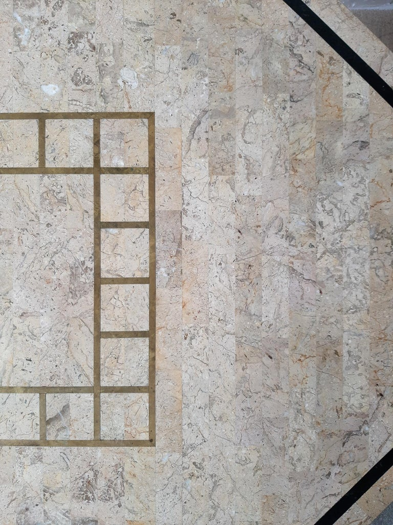 1970s Maitland Smith Tessalated Marble Dining Table For Sale 9