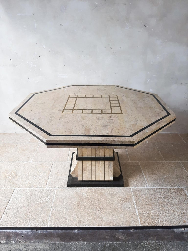 Mid-Century Modern 1970s Maitland Smith Tessalated Marble Dining Table For Sale