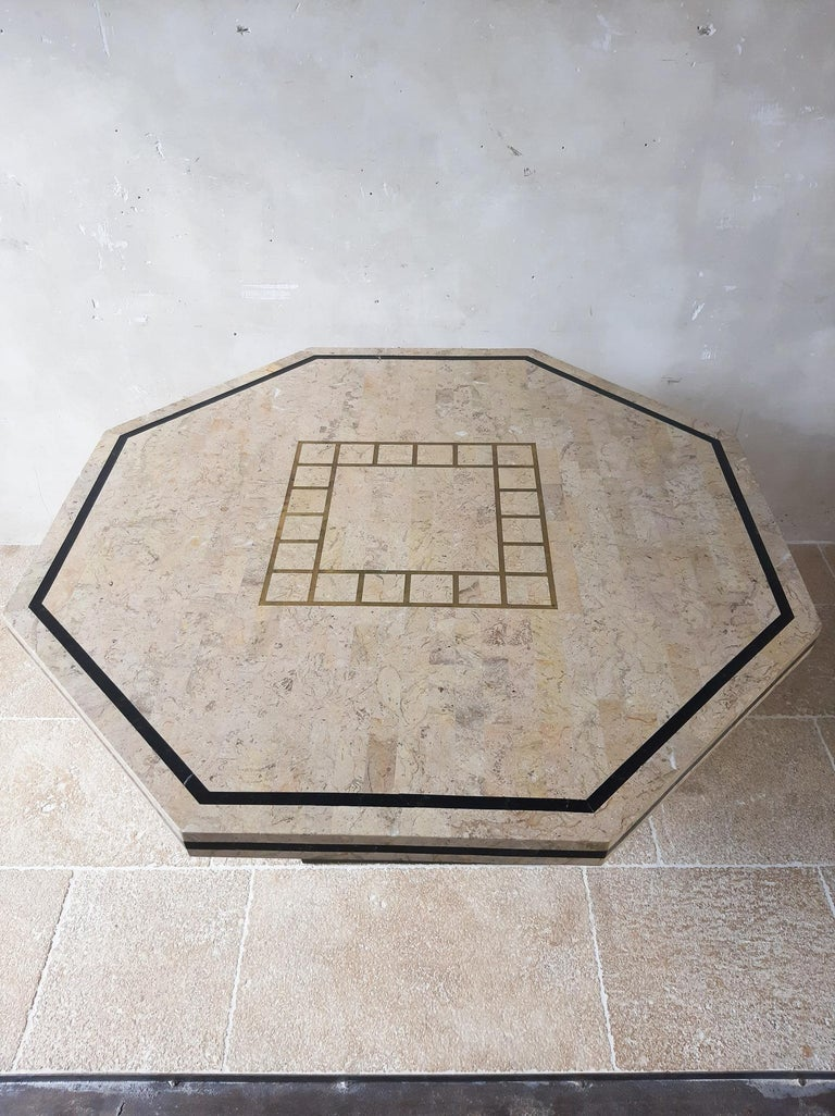European 1970s Maitland Smith Tessalated Marble Dining Table For Sale