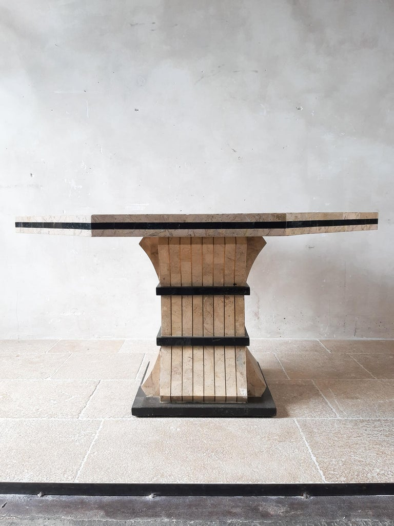 Veneer 1970s Maitland Smith Tessalated Marble Dining Table For Sale
