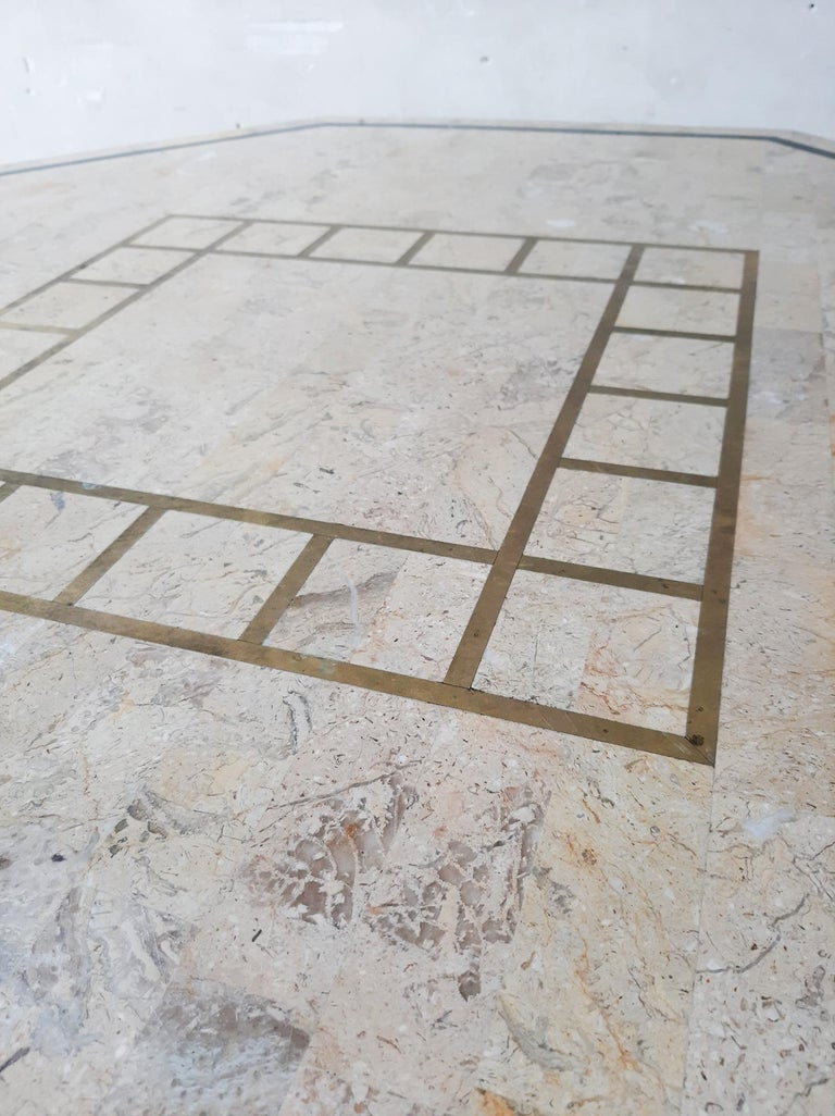 Late 20th Century 1970s Maitland Smith Tessalated Marble Dining Table For Sale