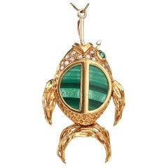 1970's Malachite Diamond 18k Gold Fish Hook Pendant and Pin