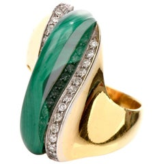 1970s Malachite Diamond Abstract 18 Karat Yellow Gold Ring