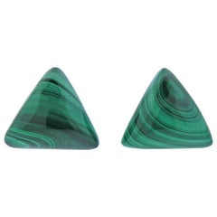 1970s Malachite Gold Triangle Earrings