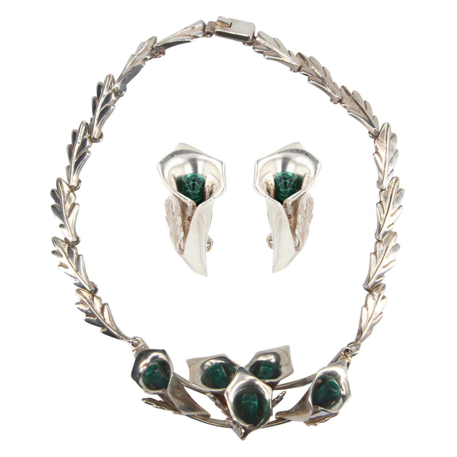 1970s Malachite Sterling Silver Necklace Earrings Set