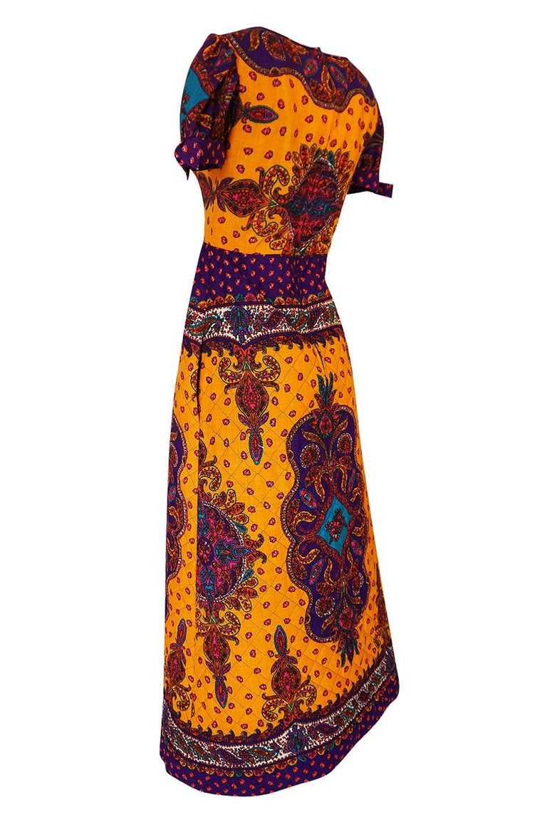 Women's 1970s Malcolm Starr Bold Print Dress with Quilted Skirt For Sale