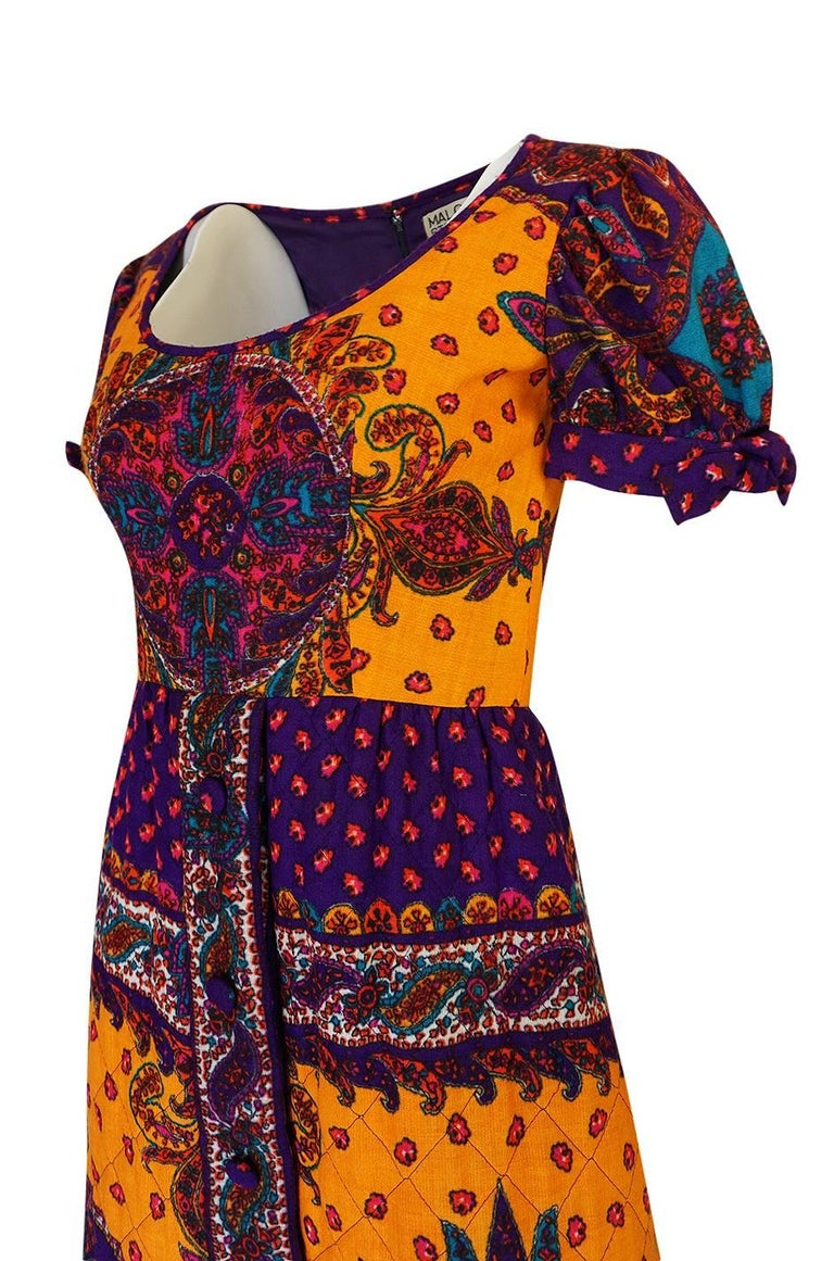 1970s Malcolm Starr Bold Print Dress with Quilted Skirt For Sale 2